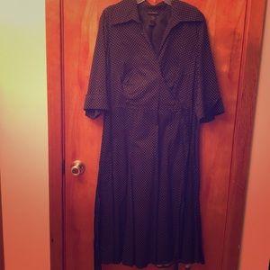 1950s inspired 3/4 sleeve polka dot dress